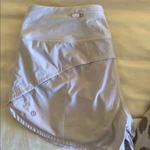 White Lululemon Speed Up 4 inch Shorts Size 8